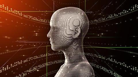 AI, artificial intelligence digital network technologies 19 1 Human 2B red 4k Animation
