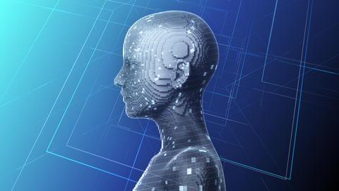 AI, artificial intelligence digital network technologies 19 1 Human 1B blue 4k Animation