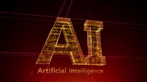 AI, artificial intelligence digital network technologies 19 1 Logo 1 F1 red 4k Animation