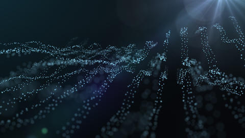 Abstract Loopable CG Motion Background Waving Dots Texture With Glowing Defocused Particles GIF