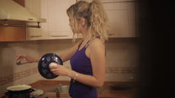 Positive girl in the kitchen Footage
