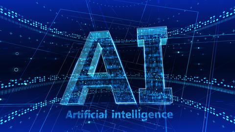 AI, artificial intelligence digital network technologies 19 1 Logo 2 F1 blue 4k Animation