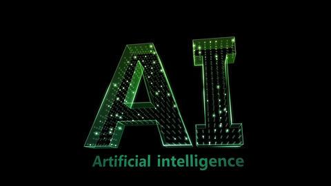 AI, artificial intelligence digital network technologies 19 1 Logo 0 F2 green 4k Animation