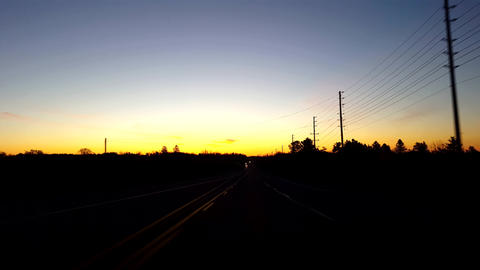 *Free Version* Driving Rural Countryside Highway During Sunrise. Driver Point of View POV While Sun Live Action