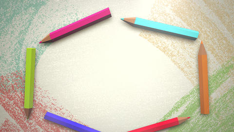 Closeup of kids background with colourful pencils, school background of Animation