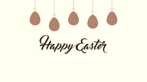 Animated closeup Happy Easter text and eggs on brown background Animation