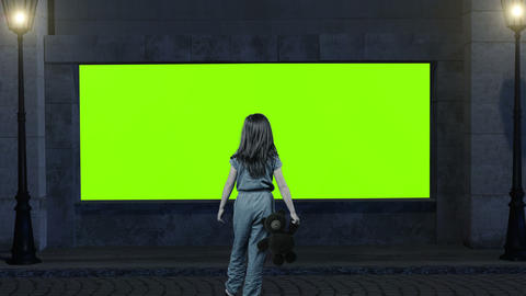 back of girl with teddy bear in the hand in front of showcase as green screen Animation