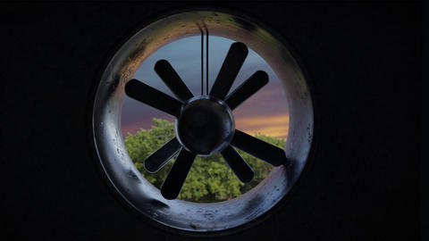 close up of rotation ventilation system in the evening sun light Animation