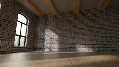 animation of empty studio loft with white bricks Animation