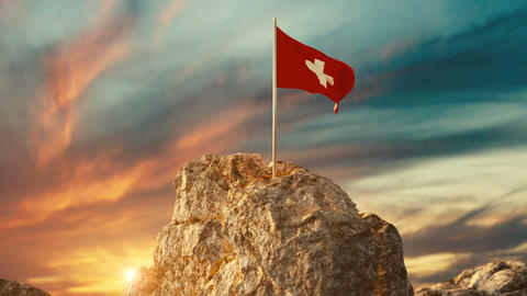 Animation of waving Swiss flag on rocky landscape to celebrate the national holiday of 1 august Animation
