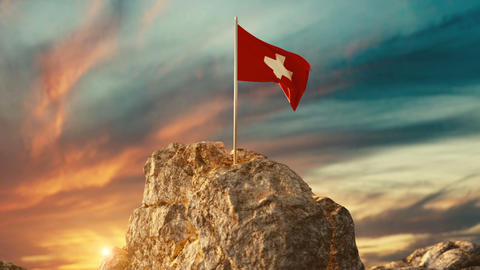 Animation of waving Swiss flag on rocky landscape to… Stock Video Footage