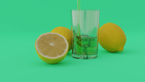 animation of lemonade filling into glass next to the lemons at cyan background Animation