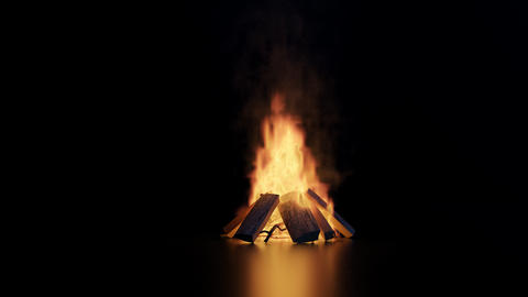 animation of bonfire with sparks and particles on glossy floor Animation