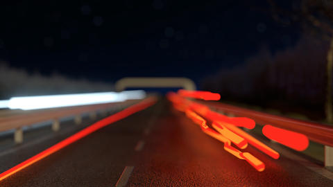 moving light streaks on the highway next to the flashing radar street trap Animation