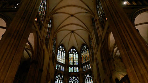 Nave and altar of the Cathedral of Saint Peter in Regensburg Live Action