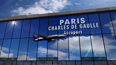 Jet aircraft landing at Paris terminal Live Action