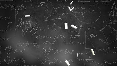 Closeup mathematical formula and elements on blackboard, school background Videos animados