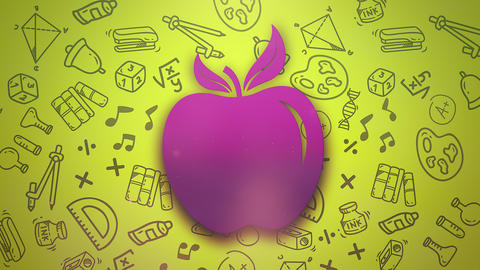 Closeup motion of school elements, education background with apple Animation