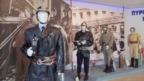 Greek Fire Service old uniforms on display Footage