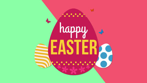 Animated closeup Happy Easter text and eggs on green and red vertigo background Animation