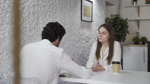 Man vacancy candidature answers on questions during job interview Footage