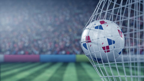 Flag of Panama on the ball in football net. Conceptual 3D animation Footage