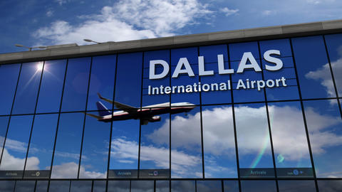 Airplane landing at Dallas DFW mirrored in terminal Live Action