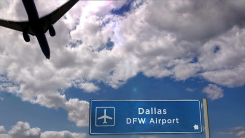 Airplane landing at Dallas DFW airport Live Action