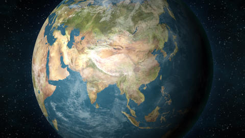 Planet Earth, zooming in on the Asian continent Animation