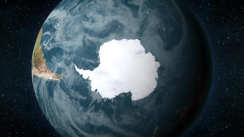 Planet Earth, zooming in on Antarctica Animation
