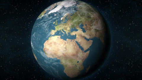 Planet Earth, zooming in on the European continent, Stock Animation