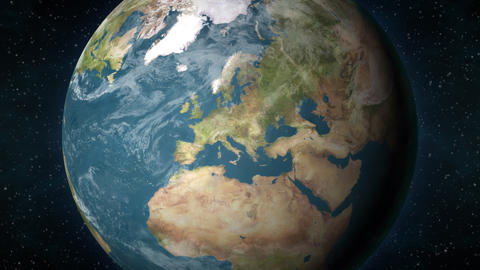 Planet Earth, zooming in on the European continent Animation