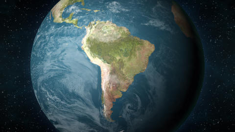 Planet Earth, zooming in on the South American continent Animation