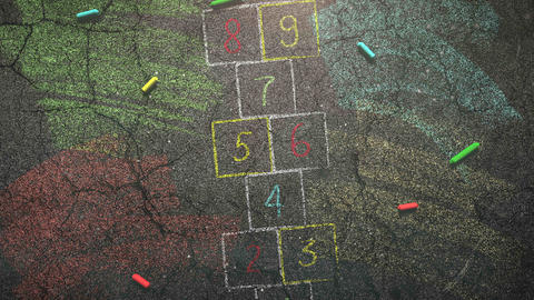 Closeup colorful chalk on blackboard, school background Animation