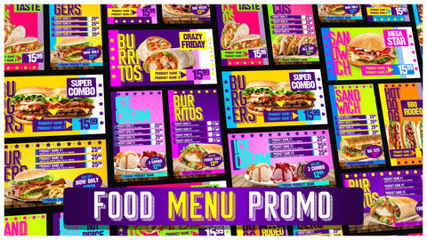 Food Menu Restaurant Promo After Effects Template