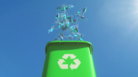 Chock-full garbage container opens and plastic bottles fall out from the bin Animation