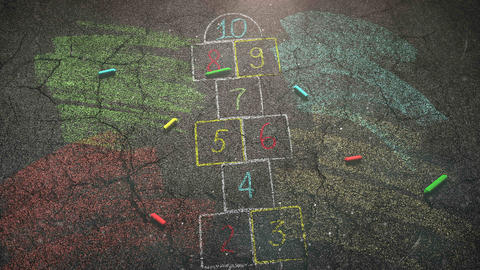 Closeup colorful chalk on street, school background of education theme Animation