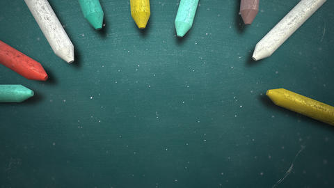 Closeup colorful chalk on blackboard, school background Videos animados