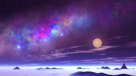 Beautiful Nebula and UFO over an Alien Planet GIF