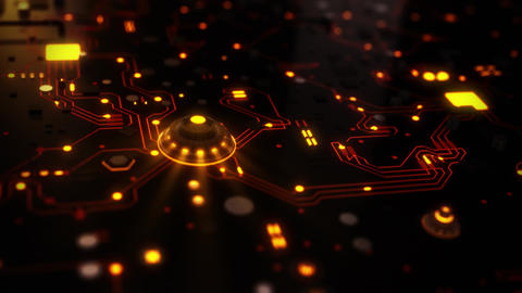 3D Orange Sci-Fi CPU Circuit Board Intro Logo Background Animation
