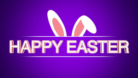 Animated closeup Happy Easter text and rabbit on purple background Animation