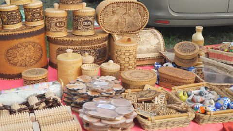 Traditional Russian crafts made of birch bark. Street trade Footage