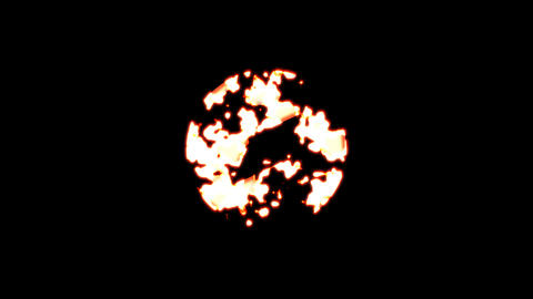Symbol compass burns out of transparency, then burns again. Alpha channel Premultiplied - Matted Animation