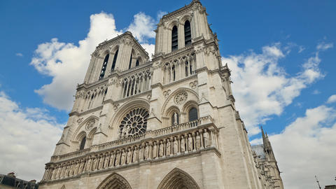 Time Lapse of the famous Notre Dame Cathedral in Paris France Live Action
