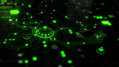 3D Green Sci-Fi CPU Circuit Board Intro Logo Background Animation