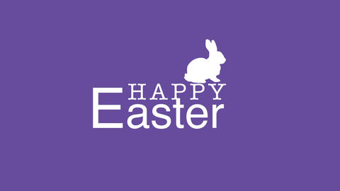 Animated closeup Happy Easter text and rabbit on purple background Videos animados