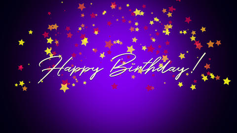 Animated closeup Happy Birthday text on purple background Animation
