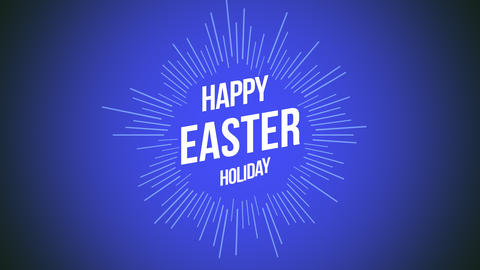 Animated closeup Happy Easter text on blue background Animation