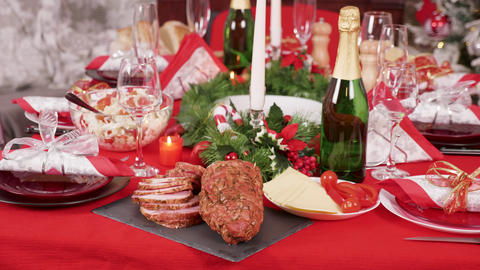 Traditional delicious food on the table for christmas celebration with family Footage