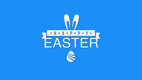 Animated closeup Happy Easter text and rabbit on blue background Animation